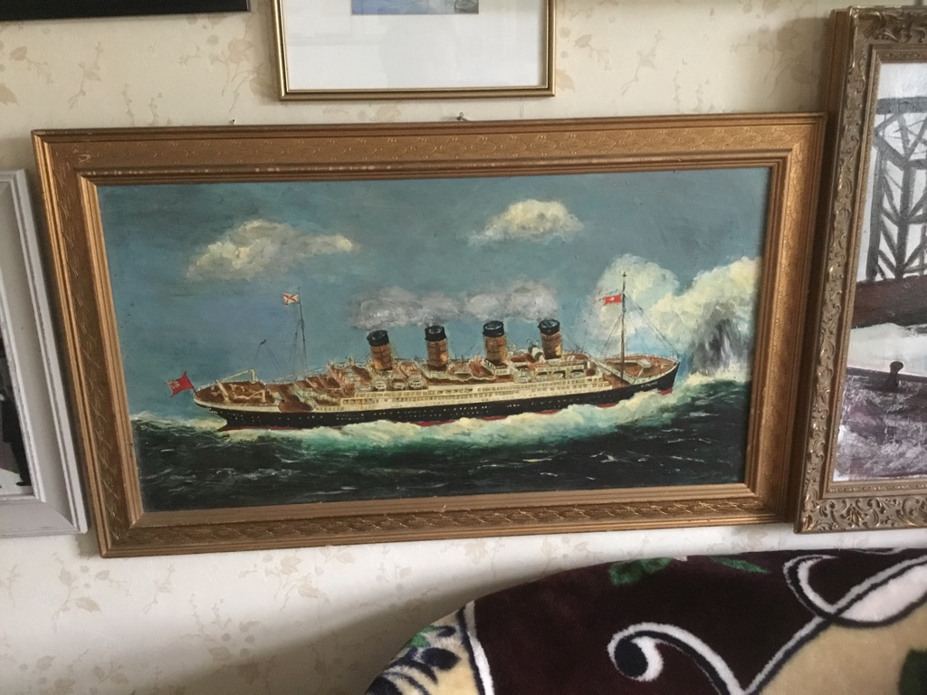 R M S titanic white star liner oil painting on canvas W30in H18