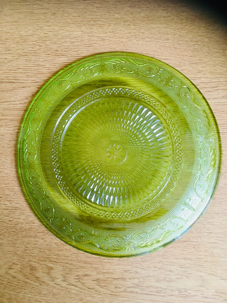LARGE LIME GREEN GLASS PLATE