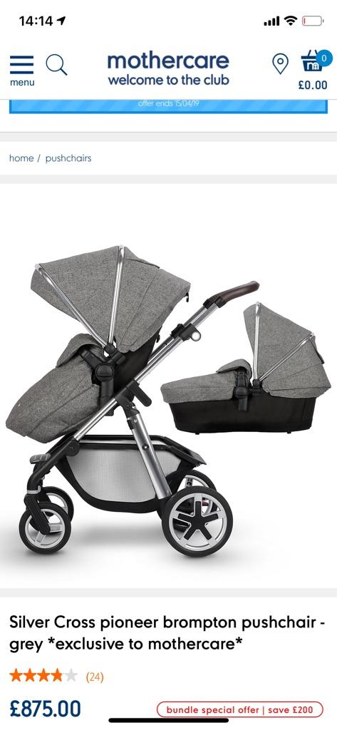 Silver cross pioneer pram and stroller bundle