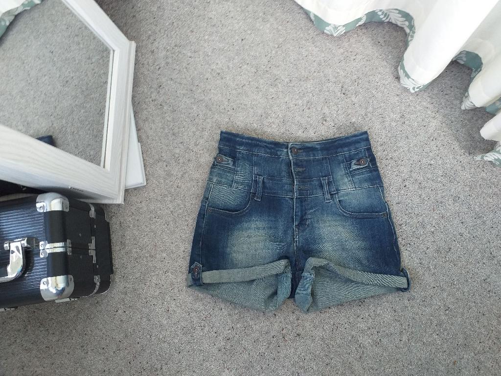 Topshop Faded Denim Shorts