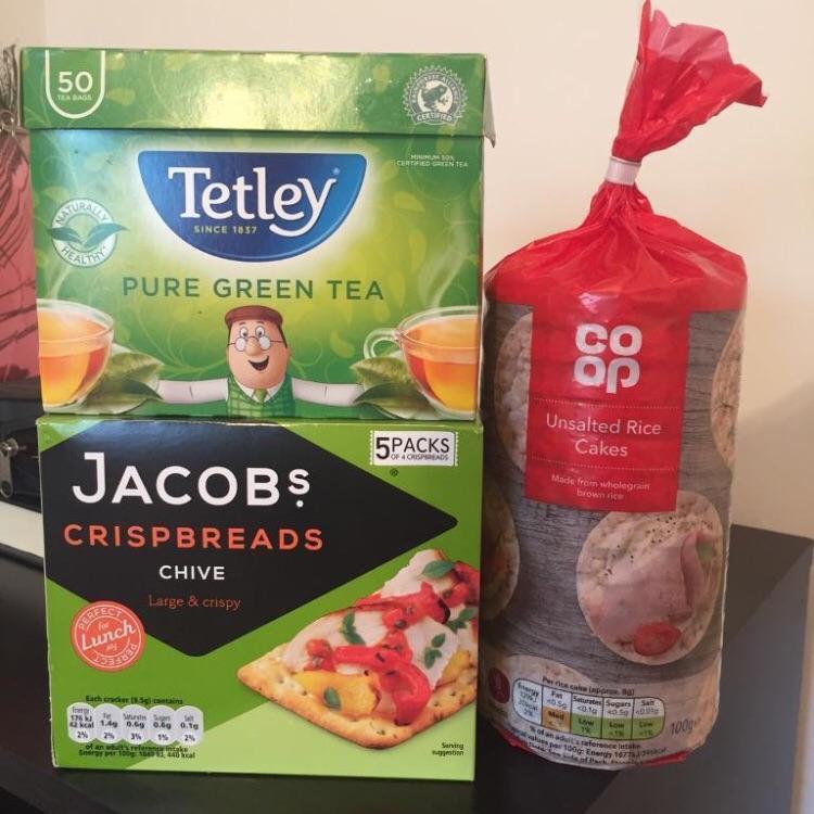 Tea bags, crackers, rice cakes