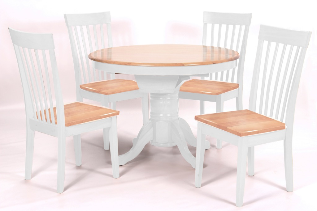 Solid Rubberwood Extending Dining Table and 4 Chairs-Natural and White