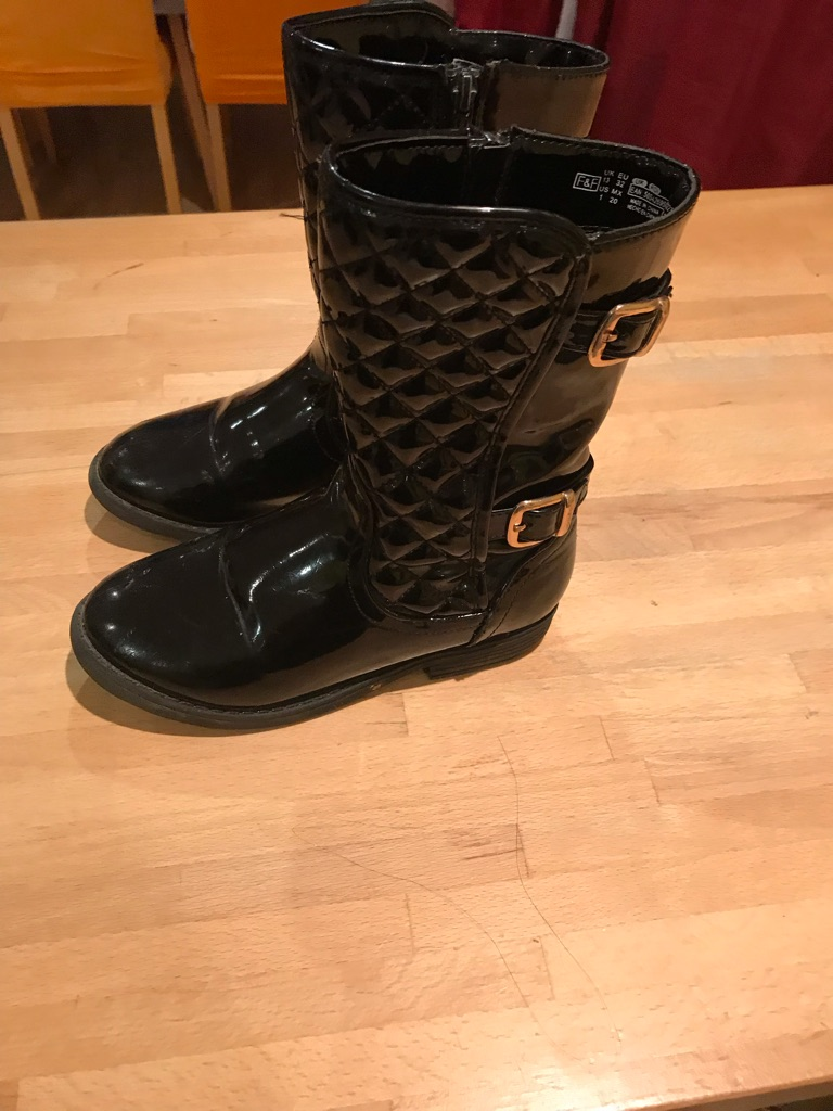 F and F black patent boots