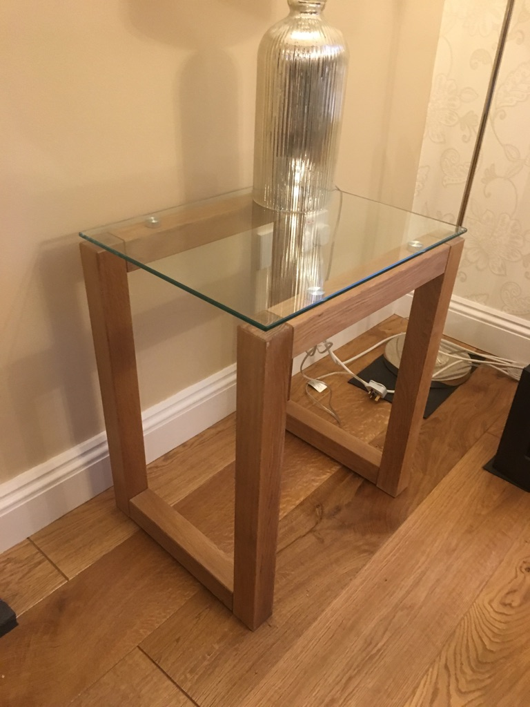 Beautiful solid oak and glass living room collection for sale