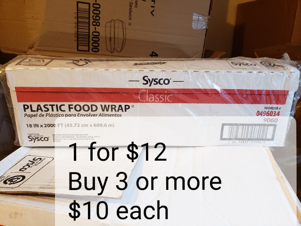"FOOD SERVICE FILM Buy more than 3 $10 each/ ROLLO DE PLASTICO PARA ENVOLVER ALIMENTOS 18"" 2000ft Compre mas de 3 $10 cada uno"