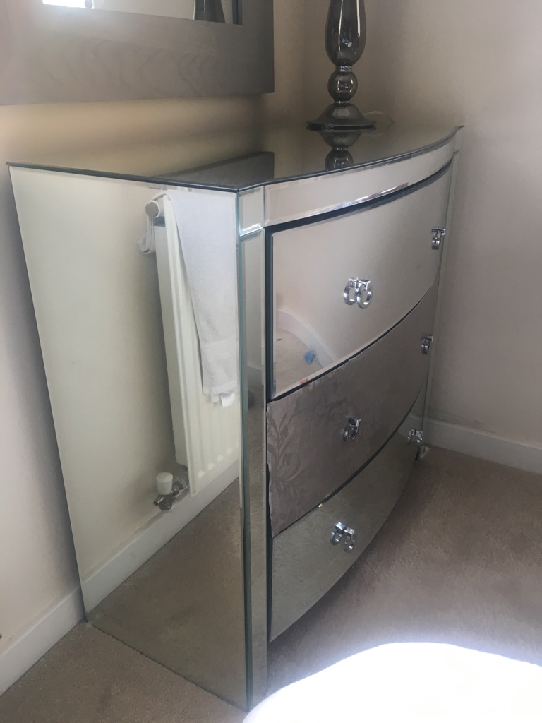 Mirrored 3 draw chest of draws