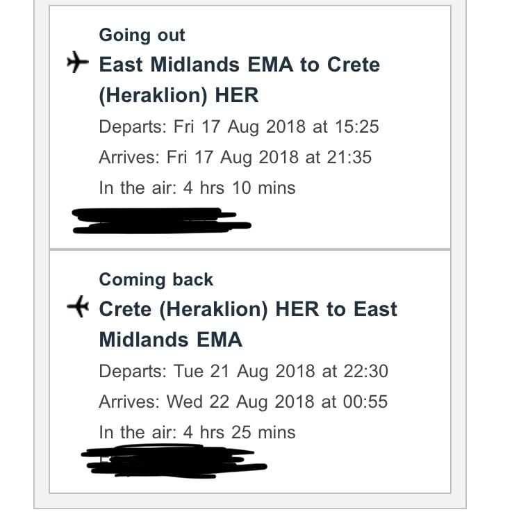 Return flights from East Midlands to Crete (Heraklion) 17th-21st August