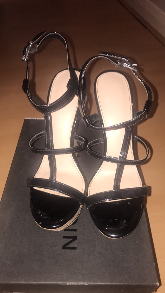 Ladies size 5 patent wedge sandals