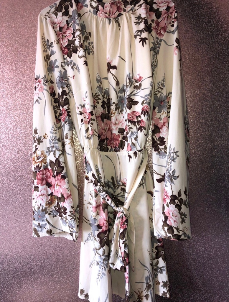 Parisian Cream Floral Dress Size 14