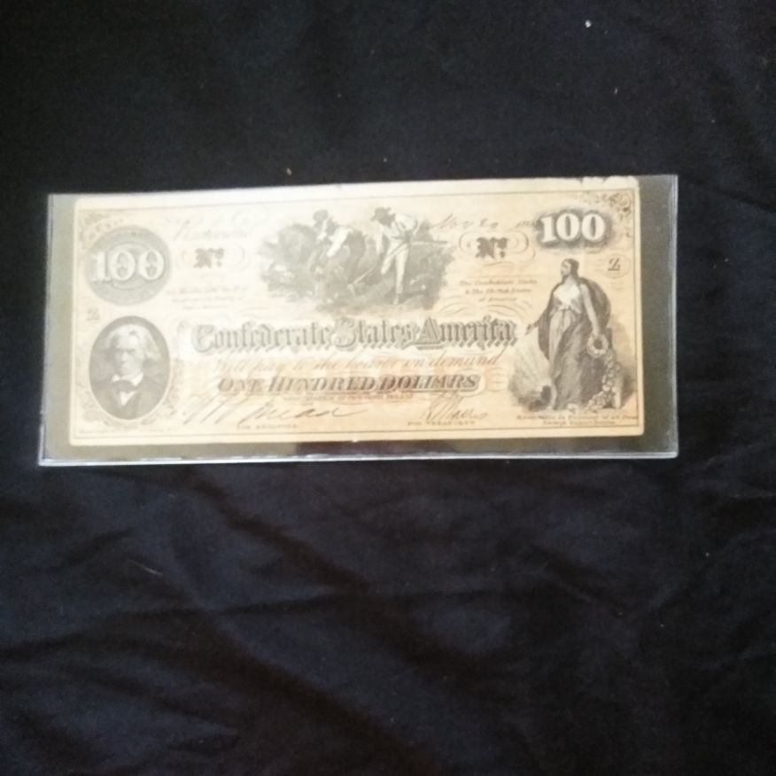 1864 Confederate one hundred dollar bill