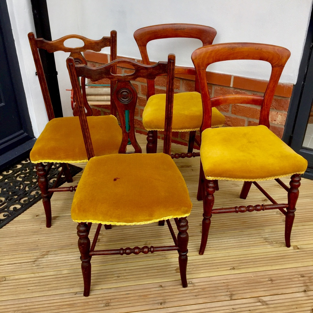 4 mahogany vintage chairs