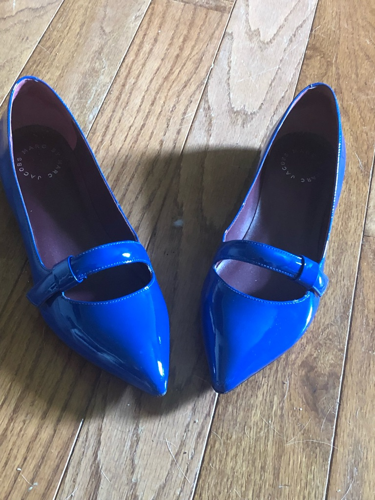 Blue patent leather blue shoes