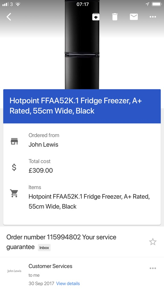 Bristol-Hotpoint frost-free fridge/freezer A+
