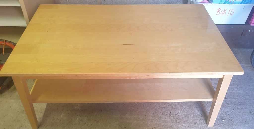 Coffee table, TV table, lamp shades (free), lawn mower