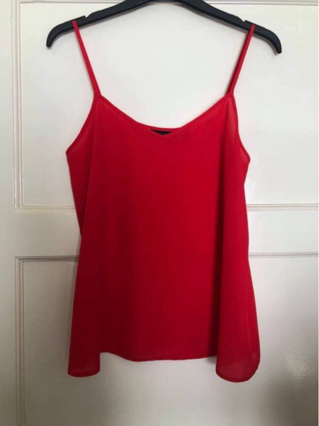 New Look Woman's Red 100% Polyester Chiffon Cami Vest Top Size 8