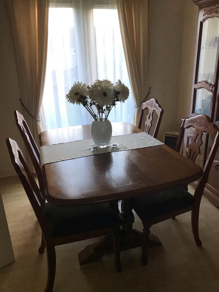 Oak display unit/dining table