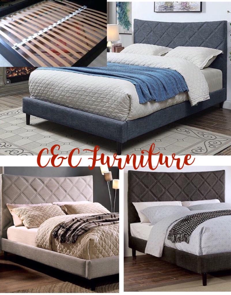 Queen size Linen Platform bed