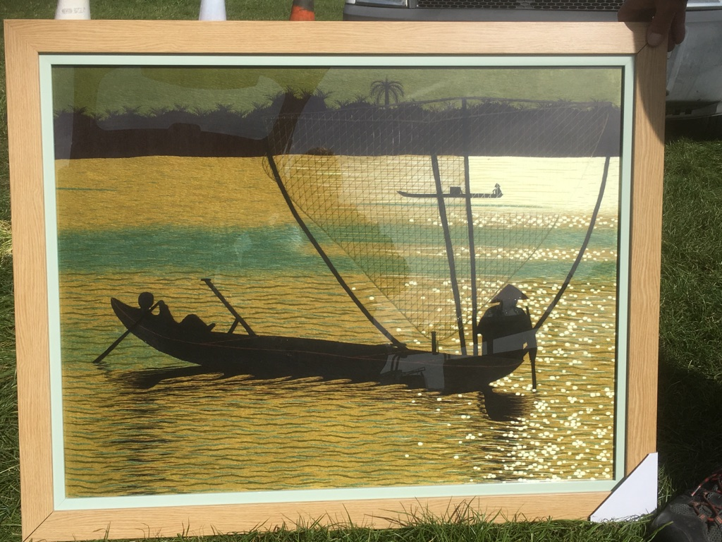 Solid light oak framed tapestry