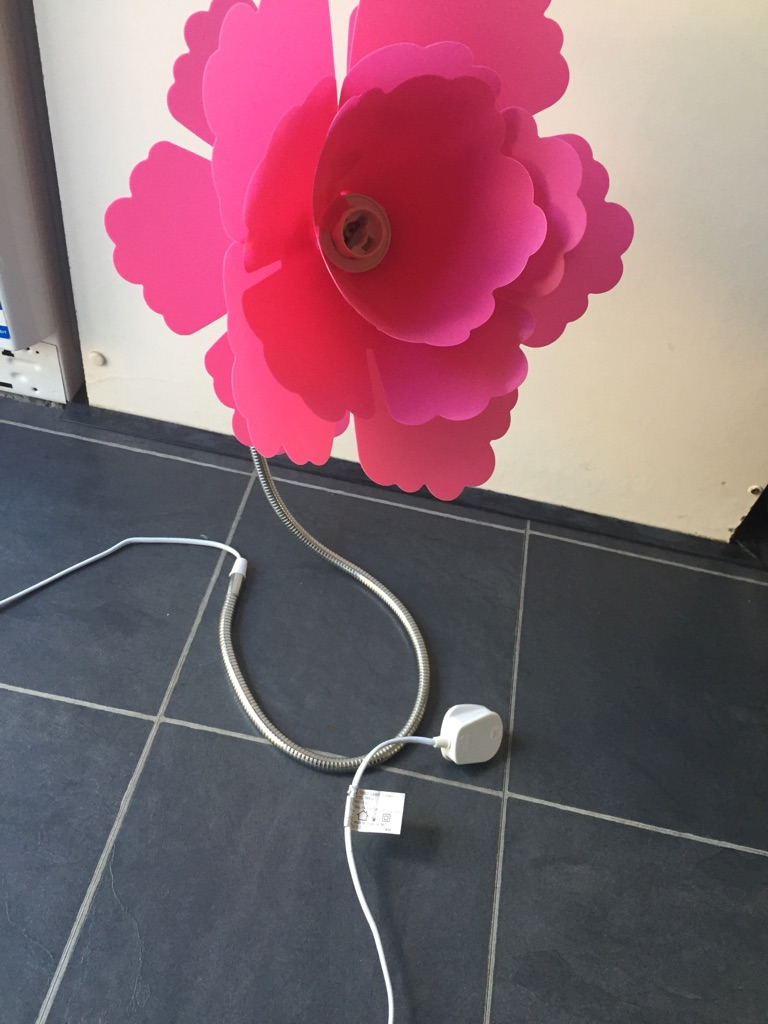 Two pink flower bedside lights