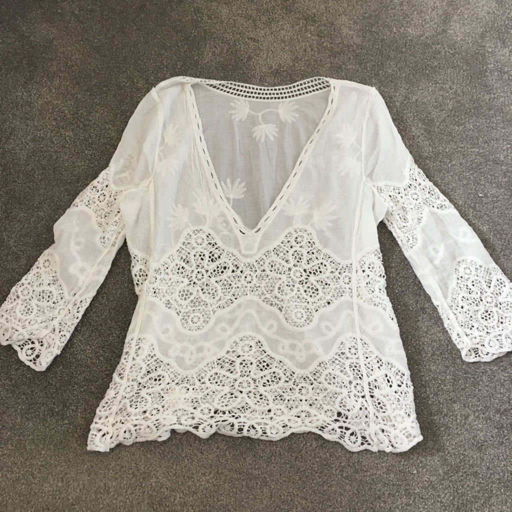 Crochet lace beach cover up top