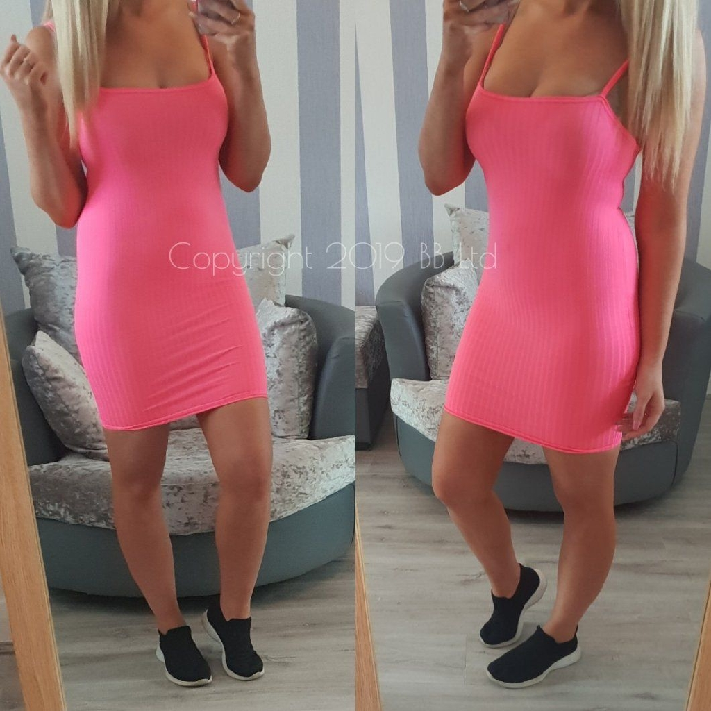 Neon Strappy Dress - Pink