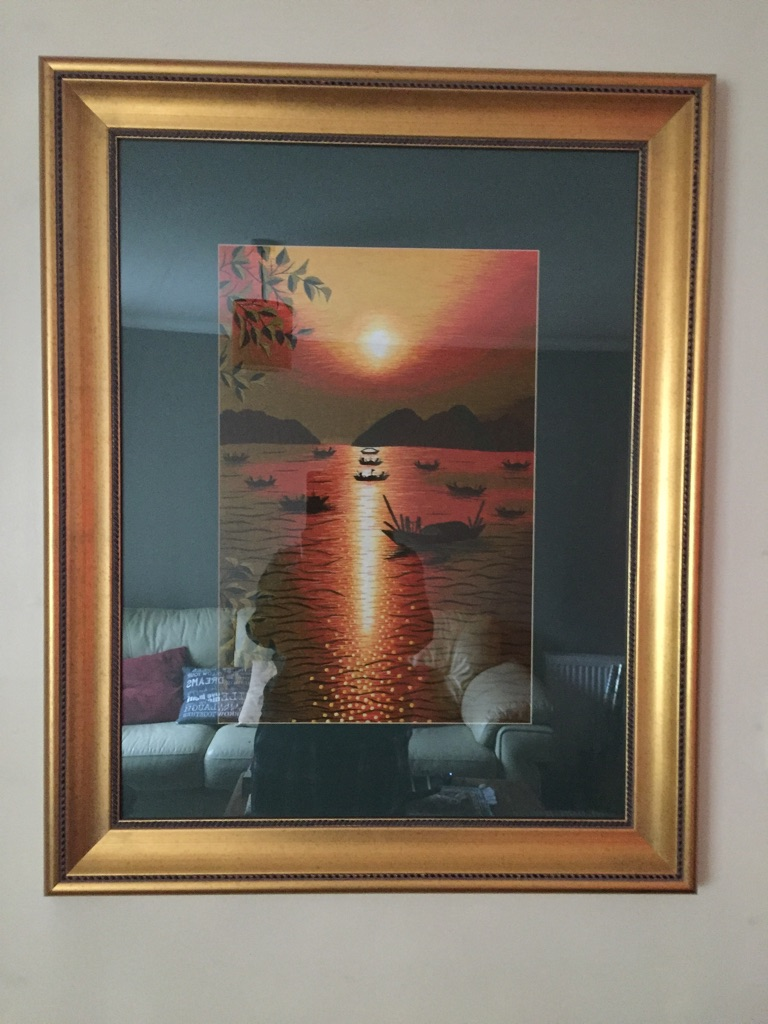 Vietnamese silk picture in gold frame