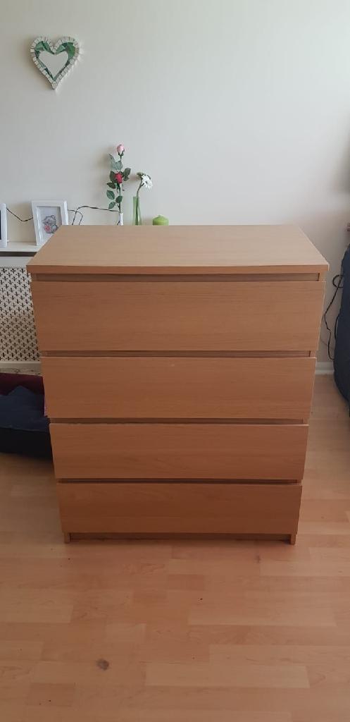 Malm oak veneer chest of 4 drawers