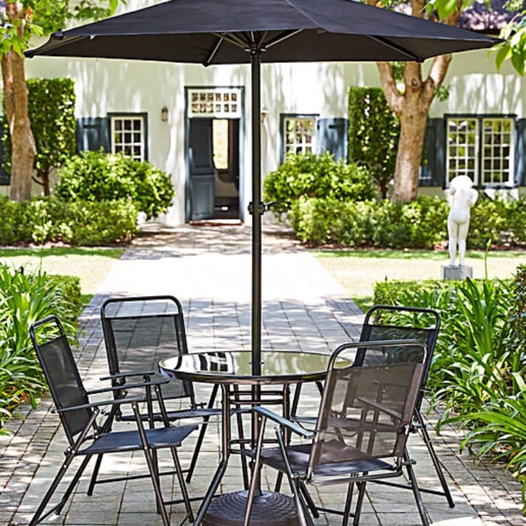 Chairs table parasol