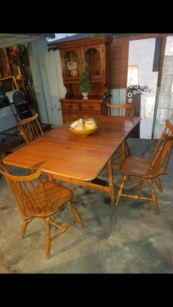 Vintage solid wood dining table set