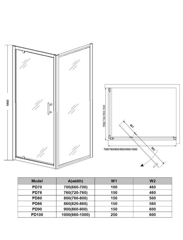 700mm Pivot Hinge Shower Door Village