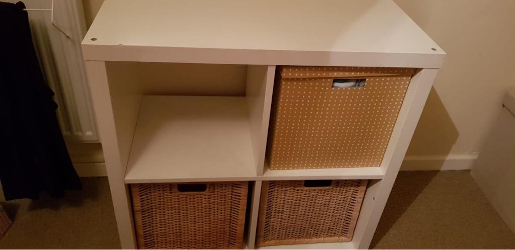 4 shelf unit with baskets kallax from ikea