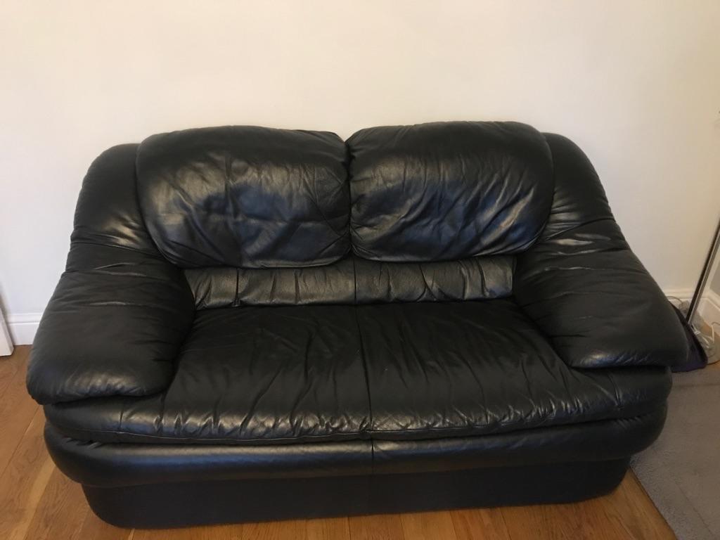 Free - 2 Seater & 3 Seater  black leather sofa