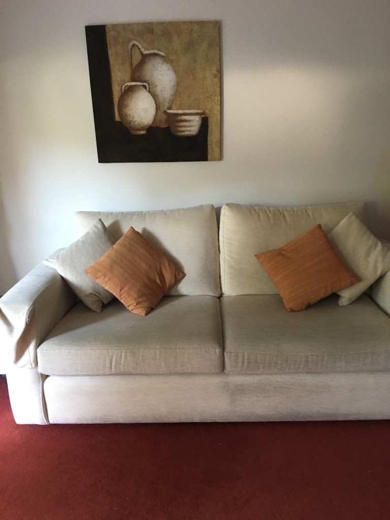 3 Seater + 2 Seater sofa with footstool