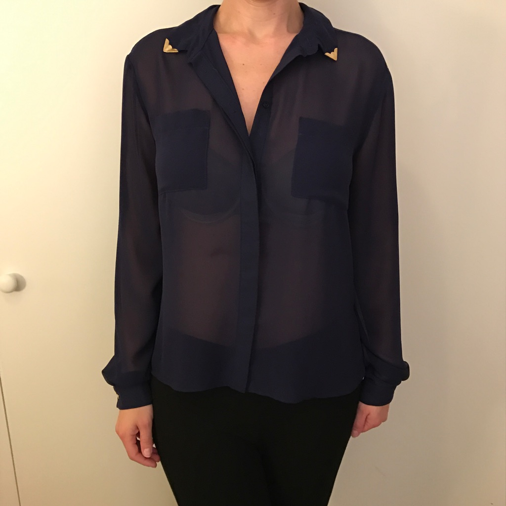 Navy blue sheer women's shirt
