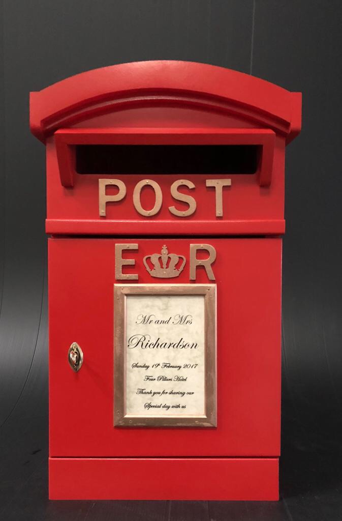 Red and Gold Post Box for hire
