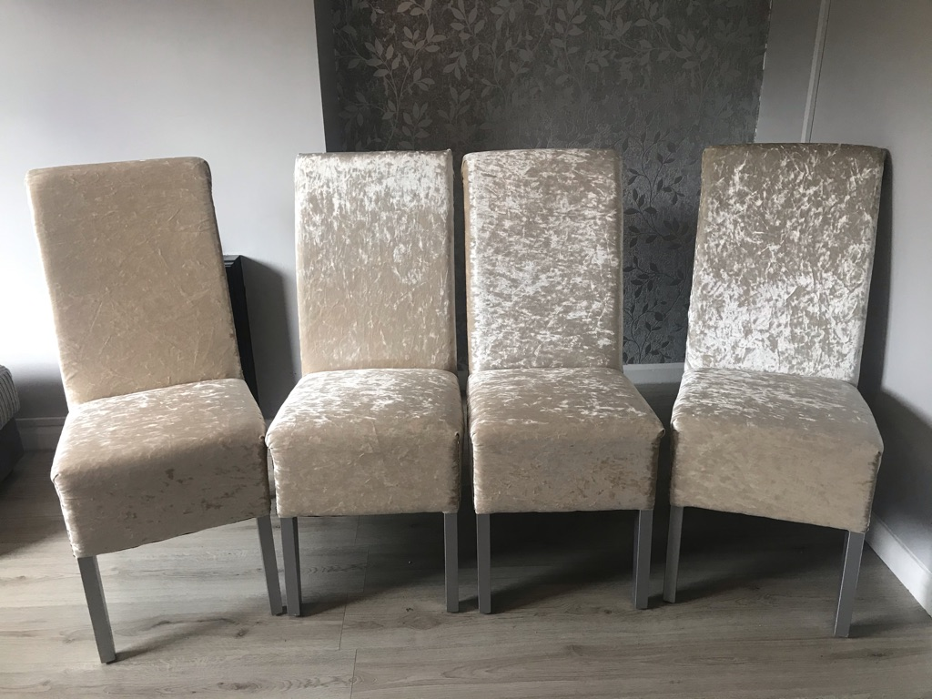 4 champagne crushed velvet dining chairs perfect for Christmas