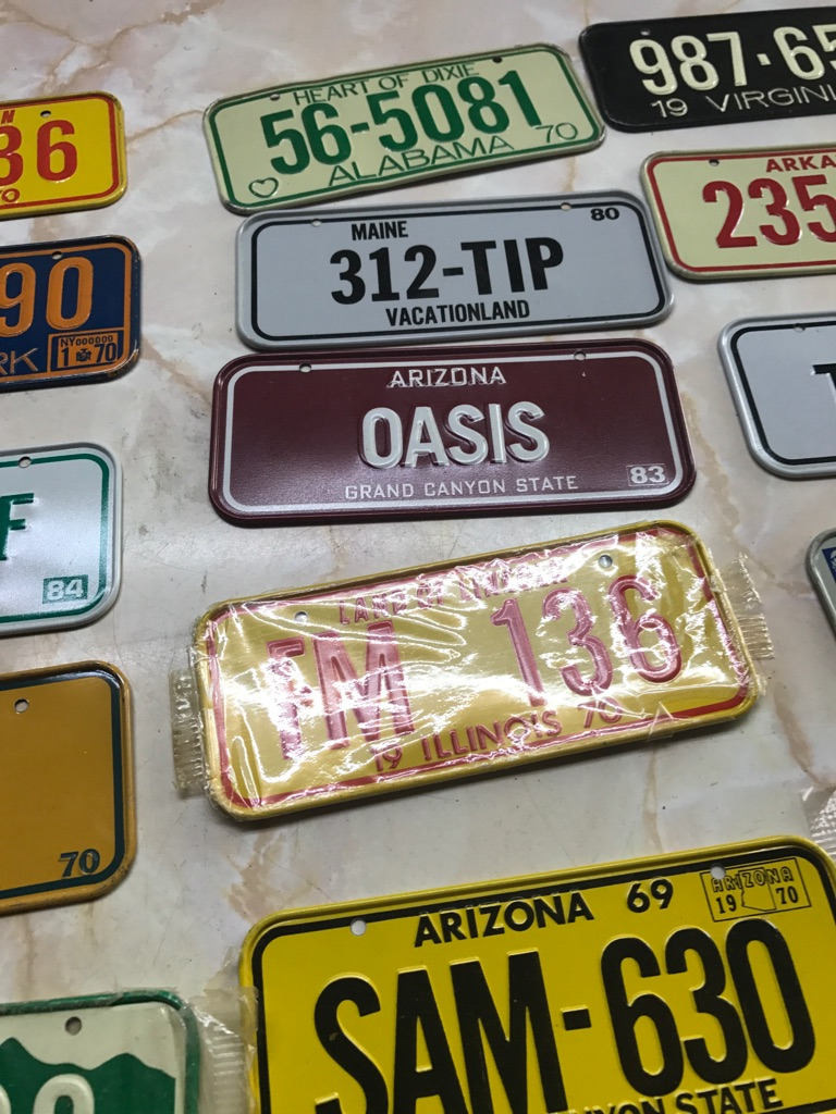 Assorted color mini license plate collection