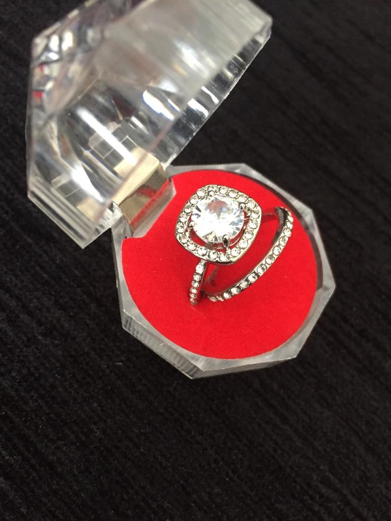 White sapphire ring set size 5