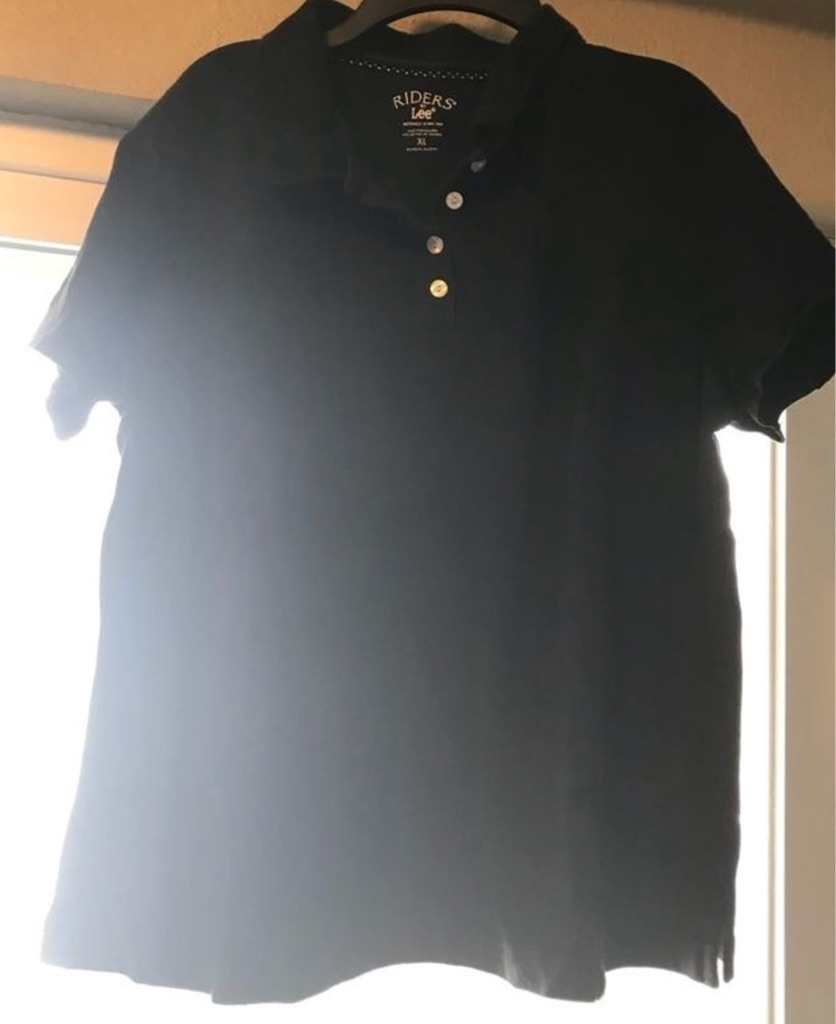 Short sleeve black ladies shirt