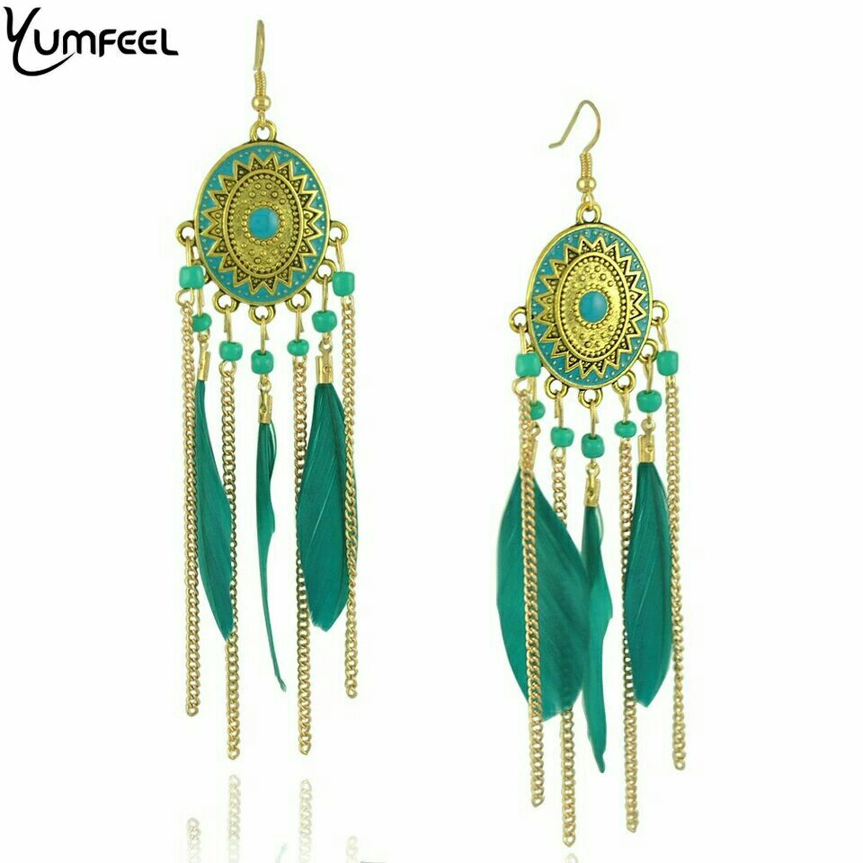 Goldtone and Green Feather/Chain Dangle Earrings