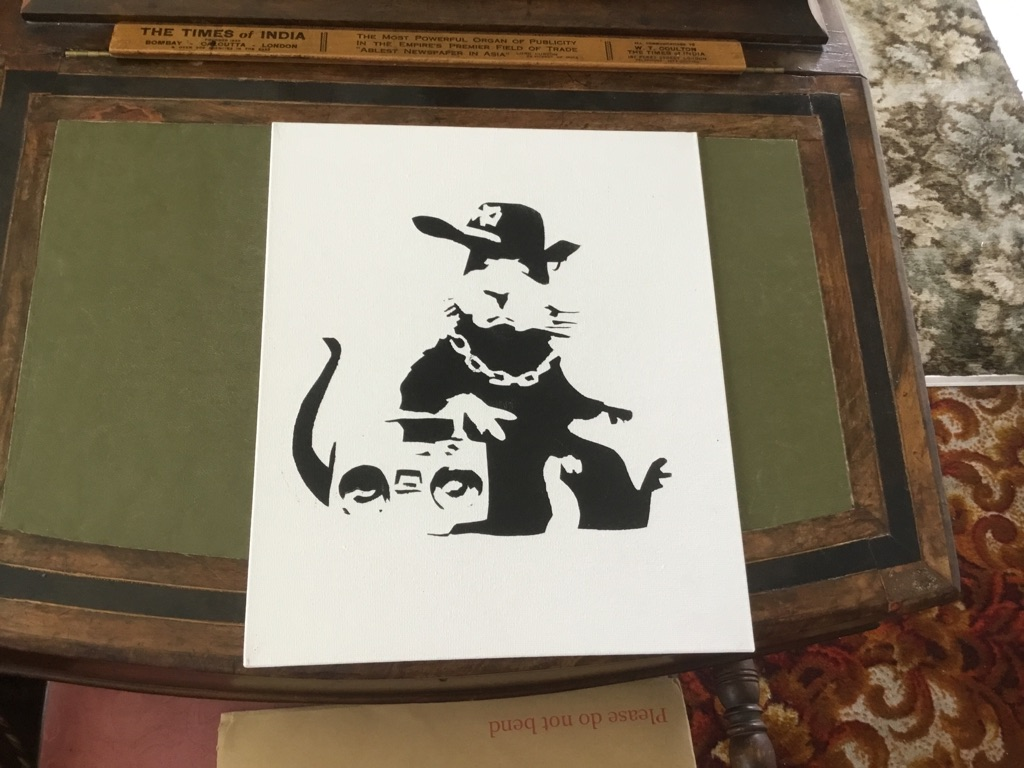 Banksy style art boarded canvas painting 10in 12in