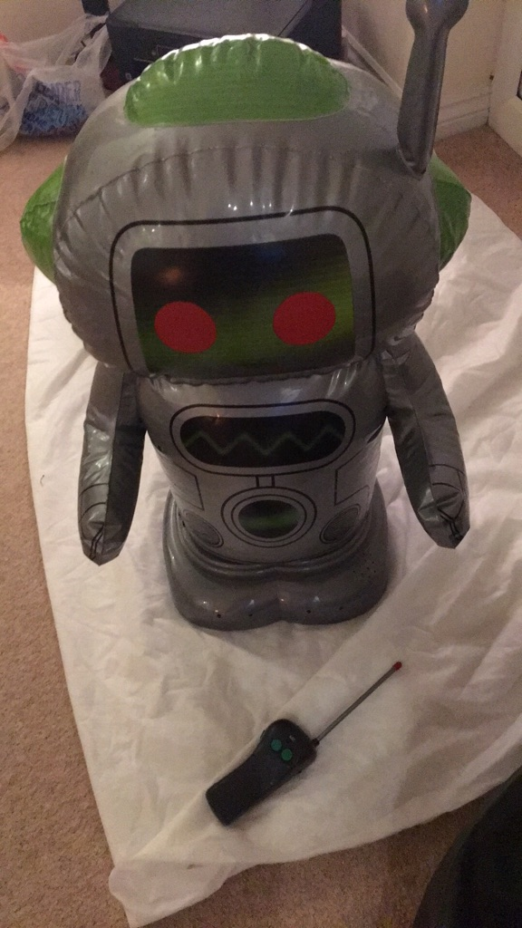 Remote control inflatable talking robot