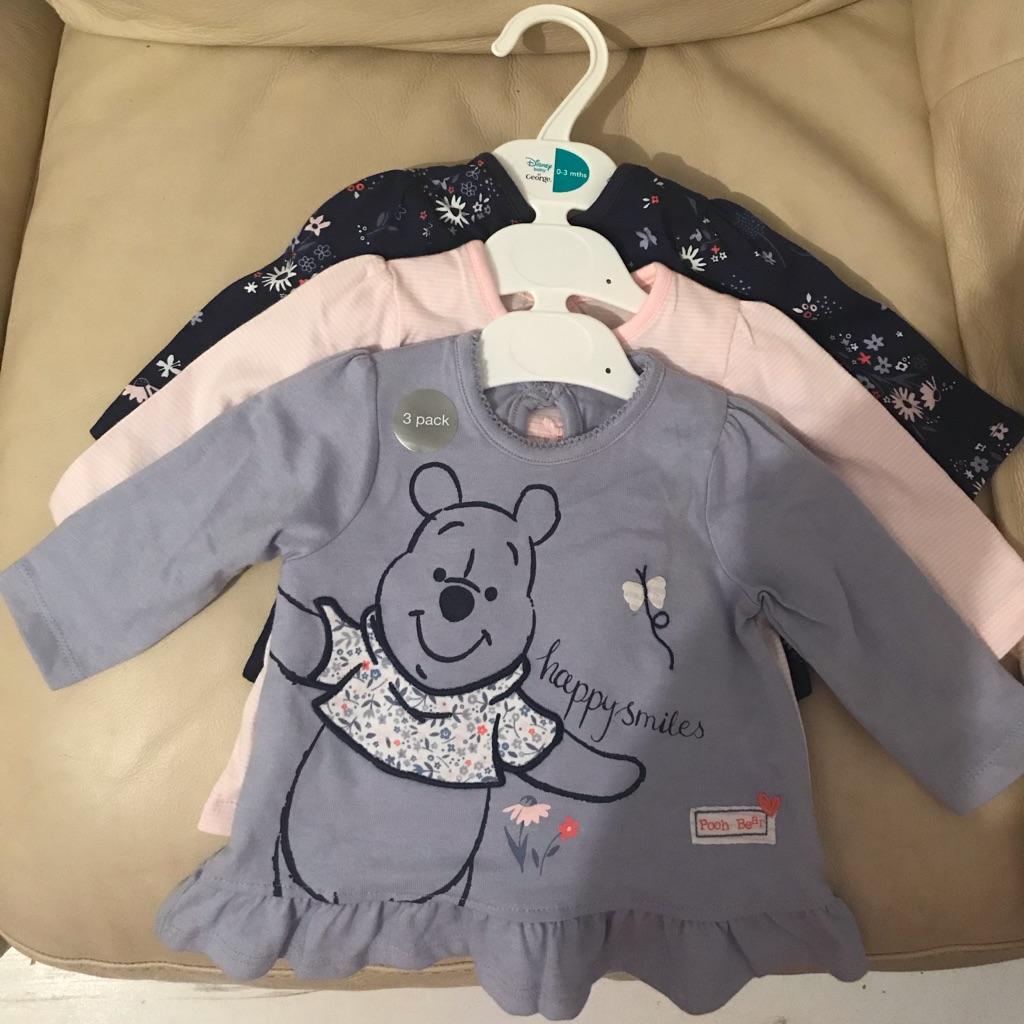 Girls Disney Winnie the Pooh tops. 0-3 months