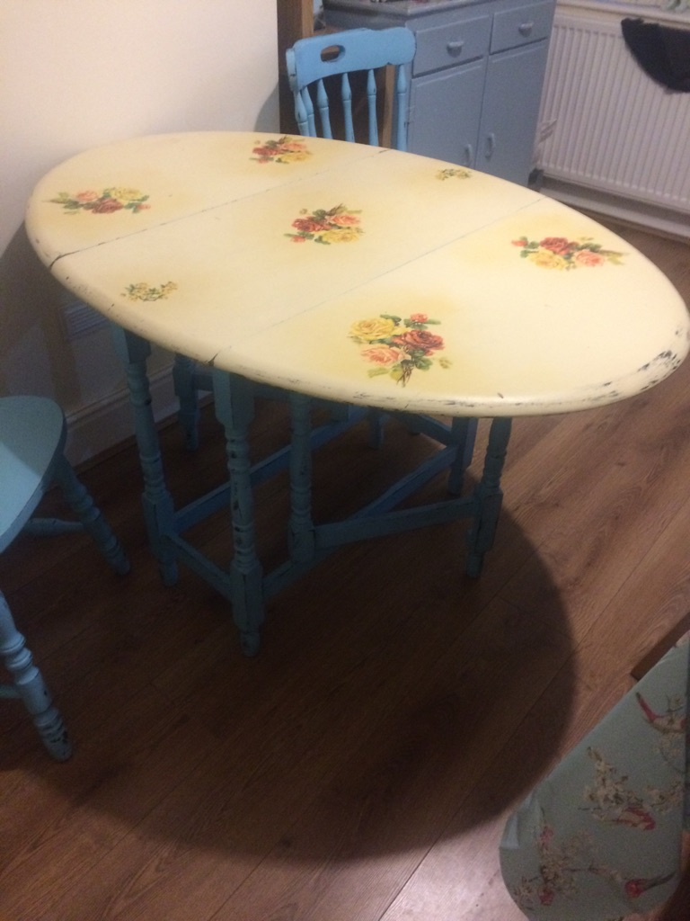 Vintage, shabby chic fold away table and chairs