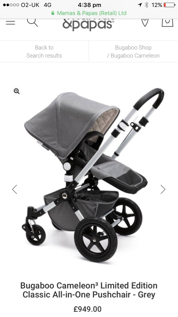 Bugaboo Cameleon³ Limited Edition Classic All-in-One Pushchair - Grey -Brand New