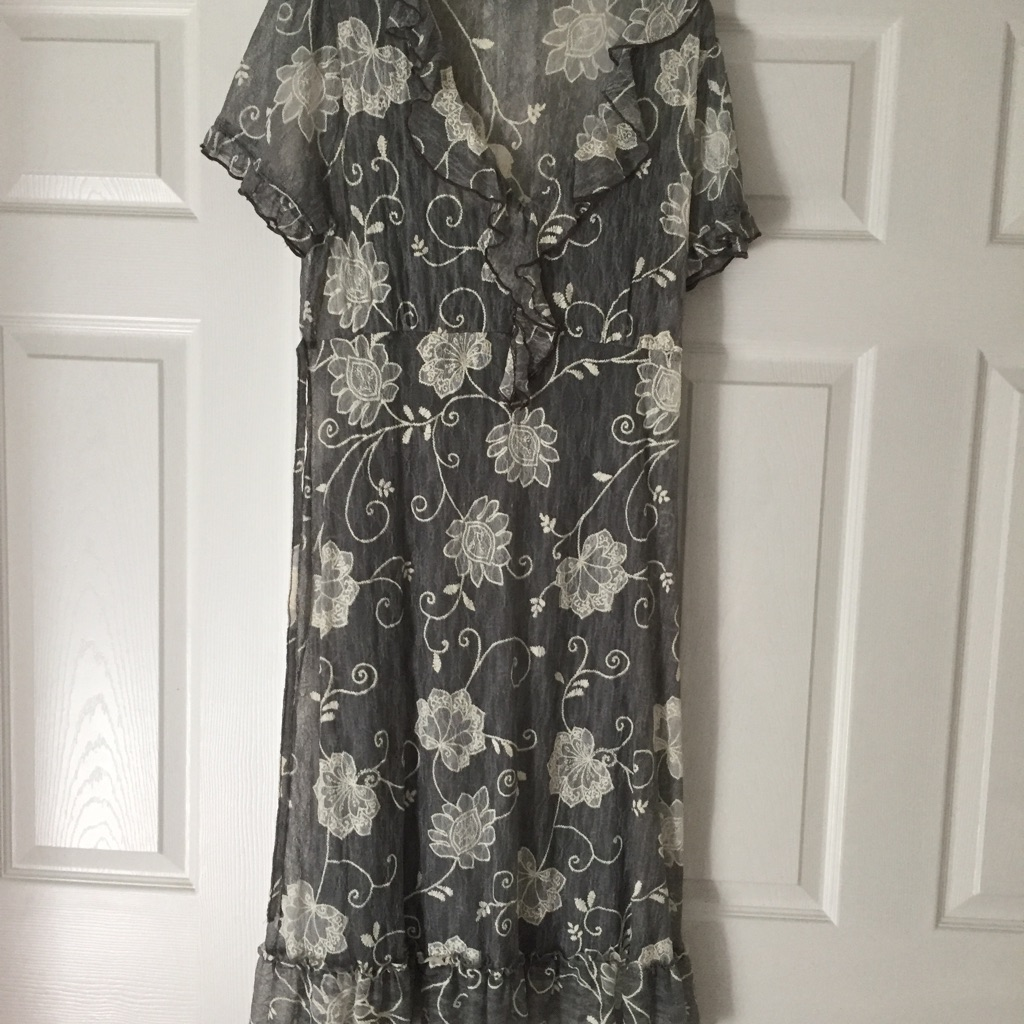 M&S Per Una Grey/White 2 Piece Dress - size 16 (BNWOT)