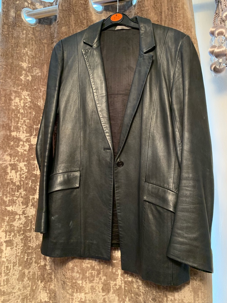 Black leather fitted jacket size 8