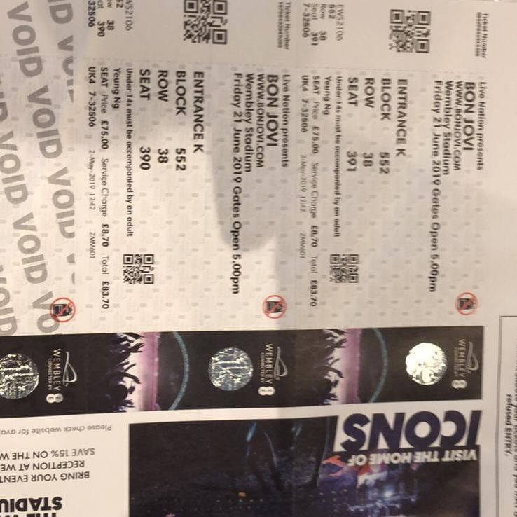 2 x Bon Jovi Wembley tickets 21st June