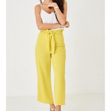 Wide leg yellow paperbag waist