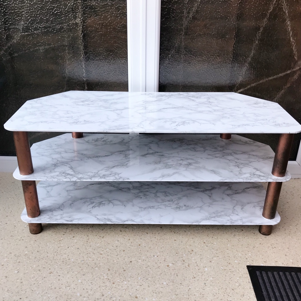 White Marble and Copper Tv Stand